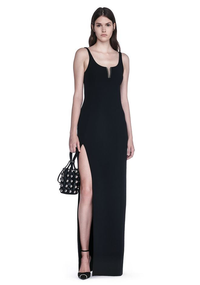 ALEXANDER WANG EXCLUSIVE COLUMN GOWN WITH HIGH SLIT AND PIERCING INSERT Long dress Adult 12_n_f