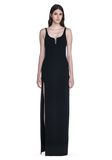 ALEXANDER WANG EXCLUSIVE COLUMN GOWN WITH HIGH SLIT AND PIERCING INSERT Long dress Adult 8_n_e