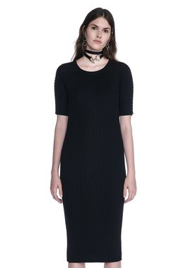 CREW NECK TEE DRESS WITH PIERCED SLEEVES