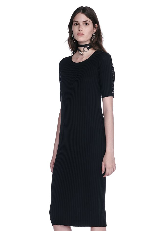 ALEXANDER WANG CREW NECK TEE DRESS WITH PIERCED SLEEVES 3/4 length dress Adult 12_n_a