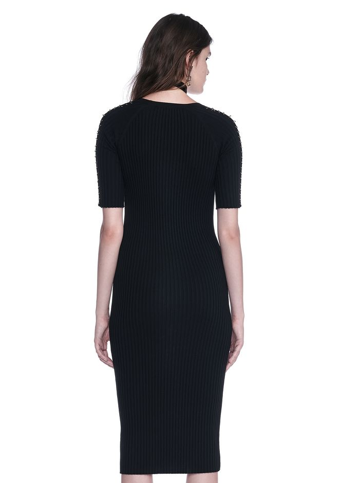 ALEXANDER WANG CREW NECK TEE DRESS WITH PIERCED SLEEVES 3/4 length dress Adult 12_n_d