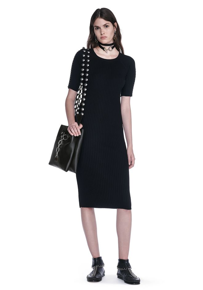 ALEXANDER WANG CREW NECK TEE DRESS WITH PIERCED SLEEVES 3/4 length dress Adult 12_n_f