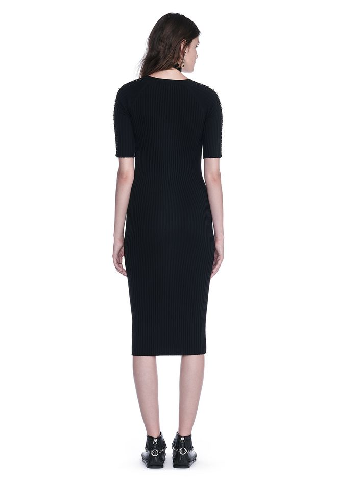 ALEXANDER WANG CREW NECK TEE DRESS WITH PIERCED SLEEVES 3/4 length dress Adult 12_n_r