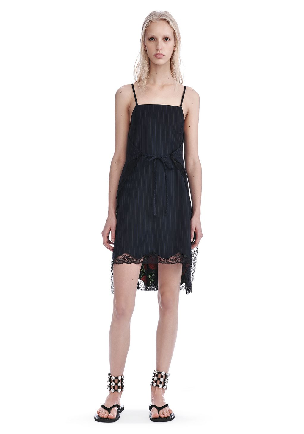 Alexander Wang Pinstripe A Line Apron Dress Long Dress
