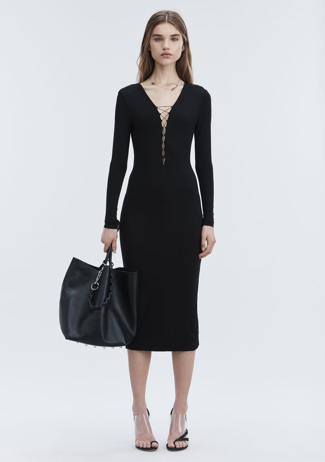 T by ALEXANDER WANG Long dresses Women MODAL LACE-UP MIDI LONG SLEEVE DRESS