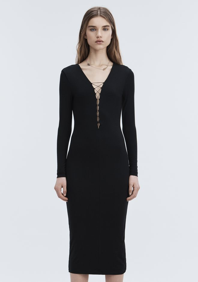 T by ALEXANDER WANG MODAL LACE-UP MIDI LONG SLEEVE DRESS Long dress Adult 12_n_a