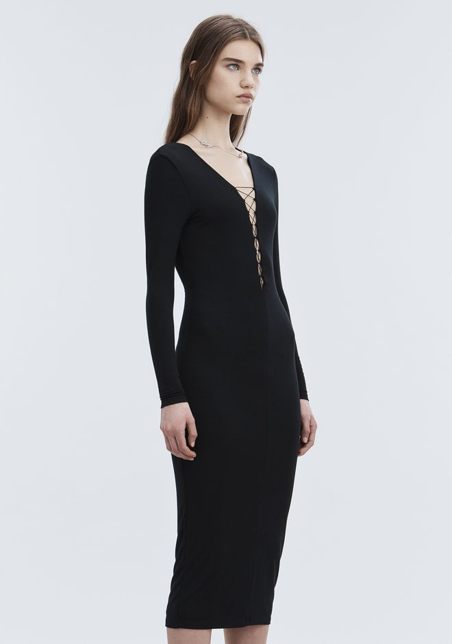 T by ALEXANDER WANG MODAL LACE-UP MIDI LONG SLEEVE DRESS Long dress Adult 12_n_d