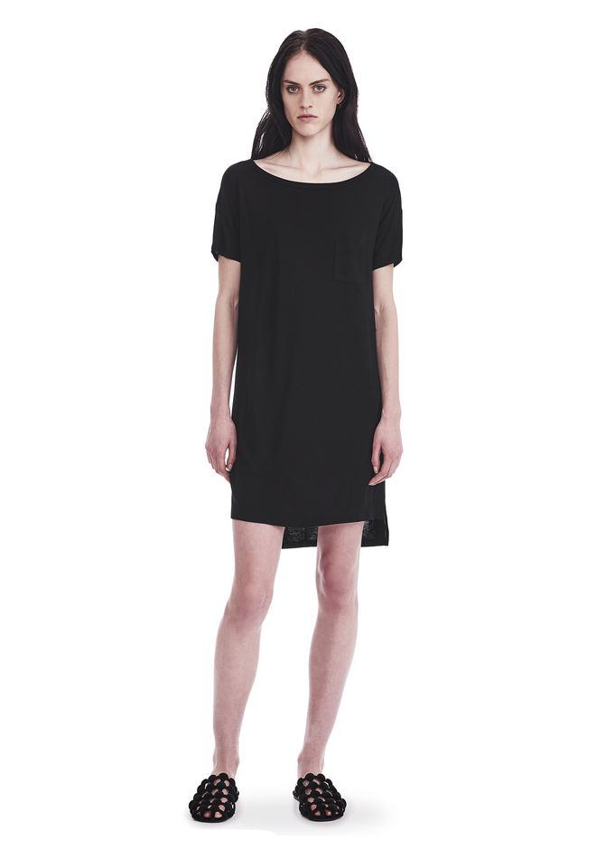 T by ALEXANDER WANG sltbdr CLASSIC BOATNECK DRESS WITH POCKET
