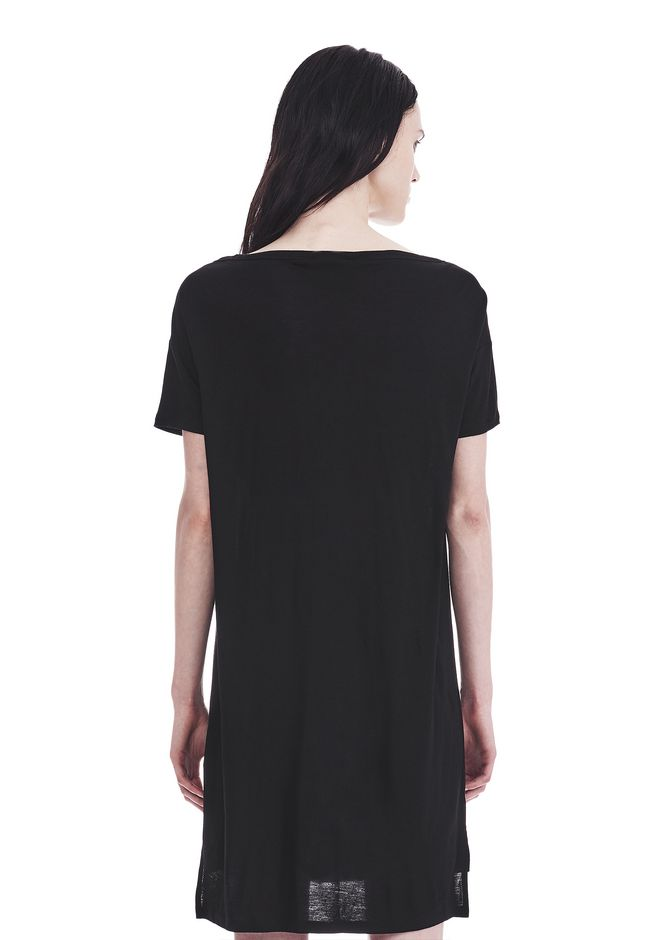 T by ALEXANDER WANG CLASSIC BOATNECK DRESS WITH POCKET Short Dress Adult 12_n_d