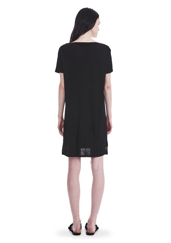 T by ALEXANDER WANG CLASSIC BOATNECK DRESS WITH POCKET Short Dress Adult 12_n_r