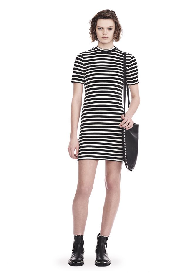 T by ALEXANDER WANG sltbdr STRIPED VELOUR MOCK NECK MINI DRESS
