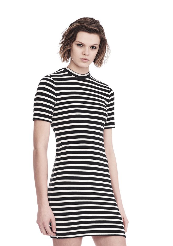 T by ALEXANDER WANG STRIPED VELOUR MOCK NECK MINI DRESS Short dress Adult 12_n_a