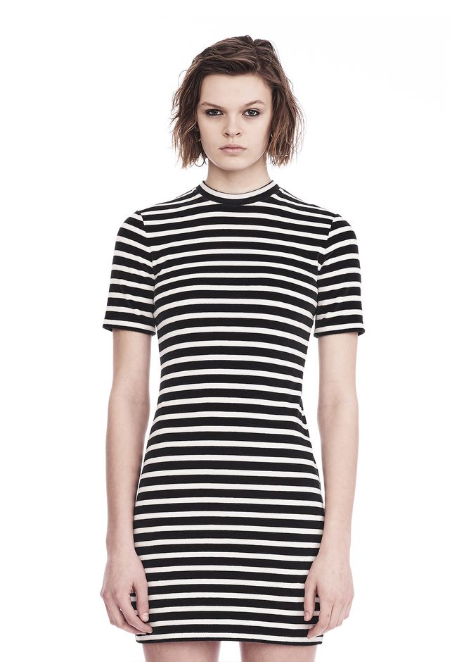 T by ALEXANDER WANG STRIPED VELOUR MOCK NECK MINI DRESS Short dress Adult 12_n_e