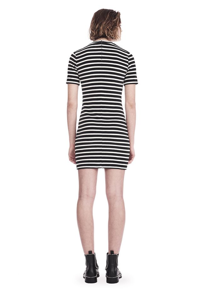 T by ALEXANDER WANG STRIPED VELOUR MOCK NECK MINI DRESS Short dress Adult 12_n_r
