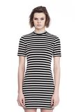 T by ALEXANDER WANG STRIPED VELOUR MOCK NECK MINI DRESS Short dress Adult 8_n_e