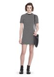 T by ALEXANDER WANG STRIPED VELOUR MOCK NECK MINI DRESS Short dress Adult 8_n_f