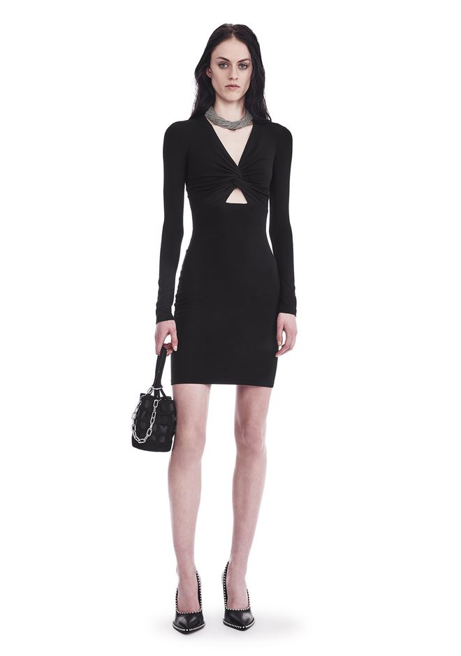 T by ALEXANDER WANG sltbdr TWIST FRONT LONG SLEEVE DRESS