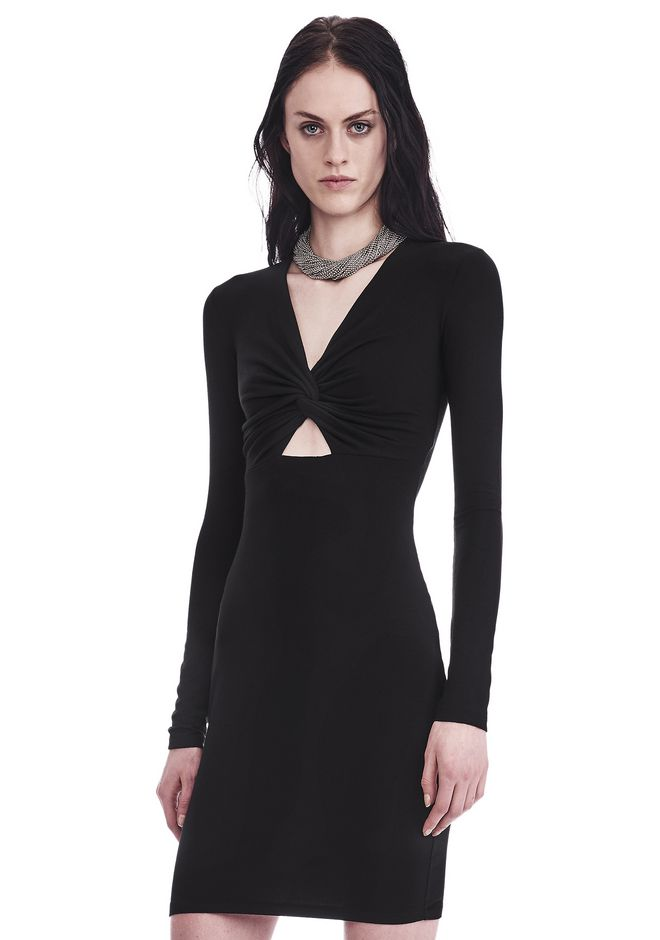 T by ALEXANDER WANG TWIST FRONT LONG SLEEVE DRESS Short dress Adult 12_n_a