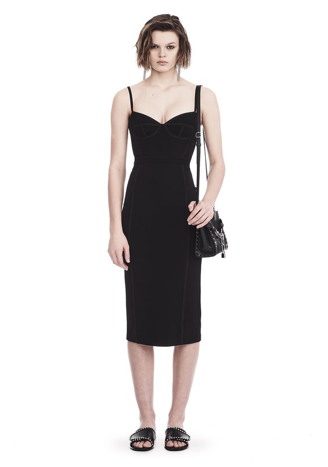 T by ALEXANDER WANG sltbdr SLEEVELESS FITTED MIDI DRESS