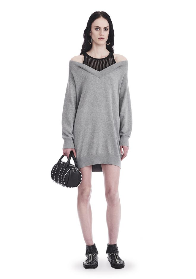 T by ALEXANDER WANG Short Dresses Women KNIT DRESS WITH INNER MESH TANK