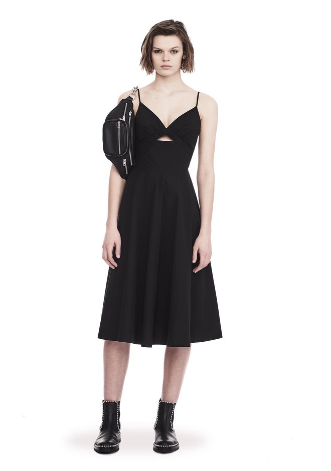 T by ALEXANDER WANG sltbdr COTTON POPLIN V-NECK DRESS WITH FRONT KEYHOLE