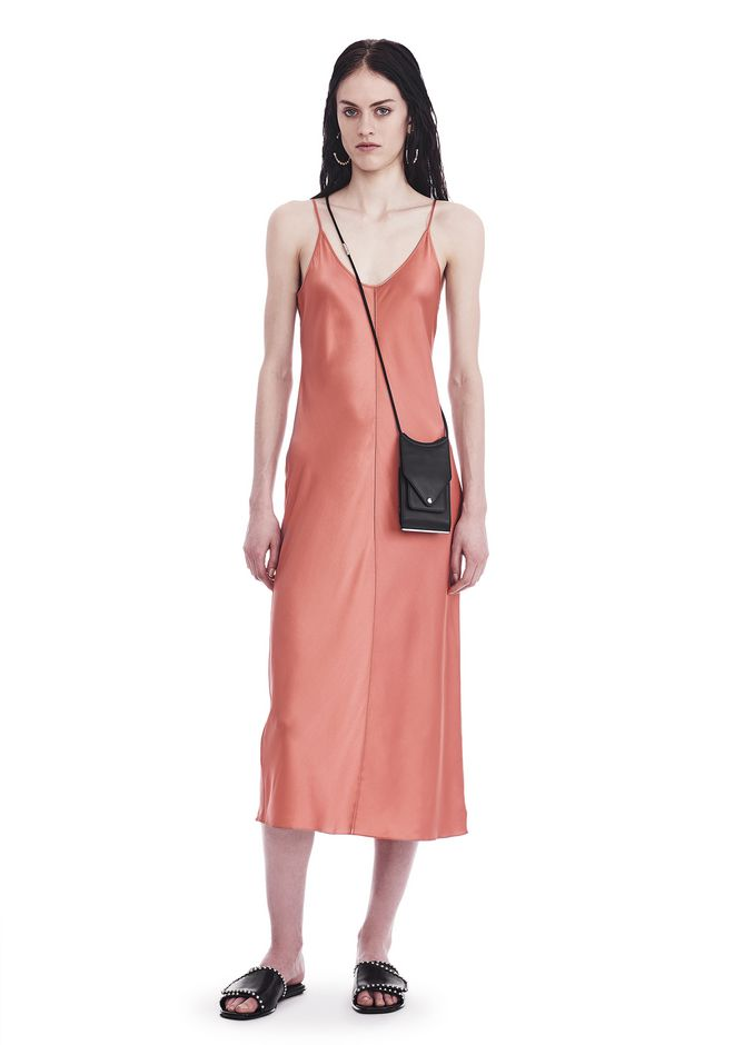 T by ALEXANDER WANG sltbdr SILK CHARMEUSE SLIP DRESS