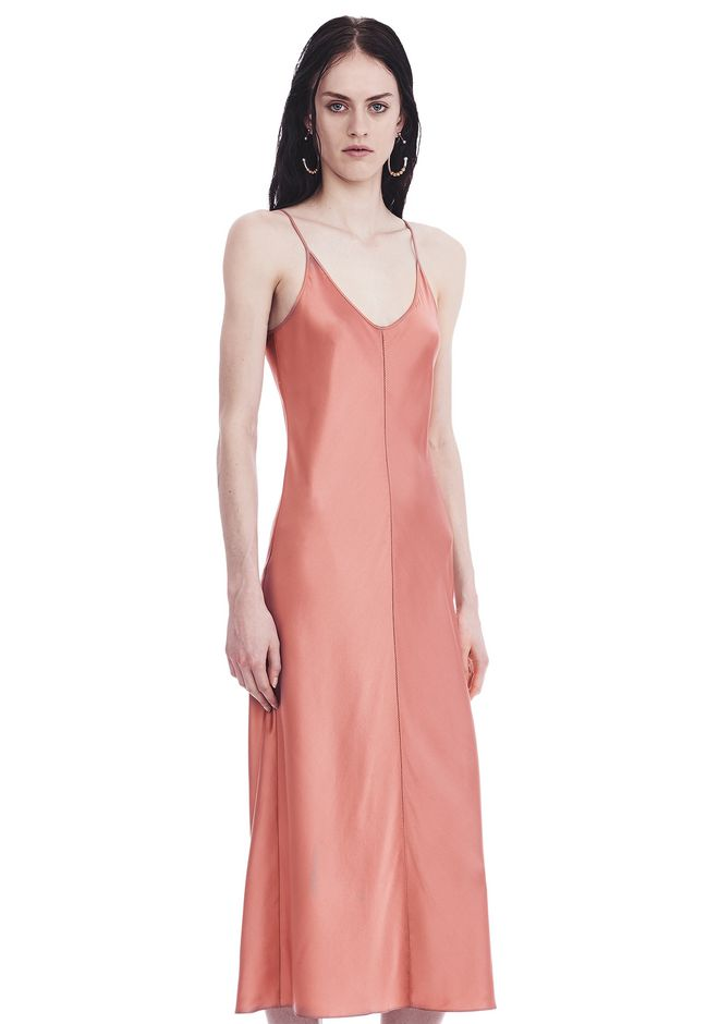 T by ALEXANDER WANG SILK CHARMEUSE SLIP DRESS 3/4 length dress Adult 12_n_a