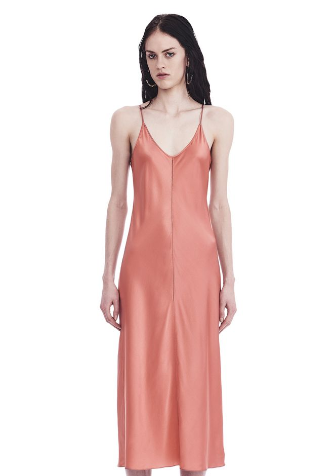 T by ALEXANDER WANG SILK CHARMEUSE SLIP DRESS 3/4 length dress Adult 12_n_e