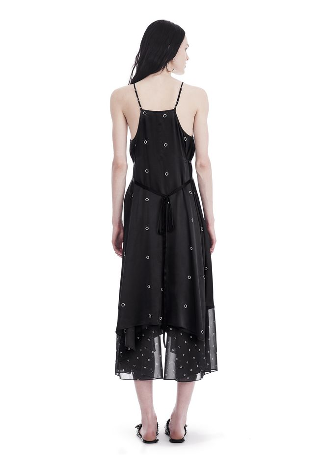 T by ALEXANDER WANG SILK CHARMEUSE V-NECK MIXED MEDIA TRAPEZE DRESS 中长款连衣裙 Adult 12_n_r