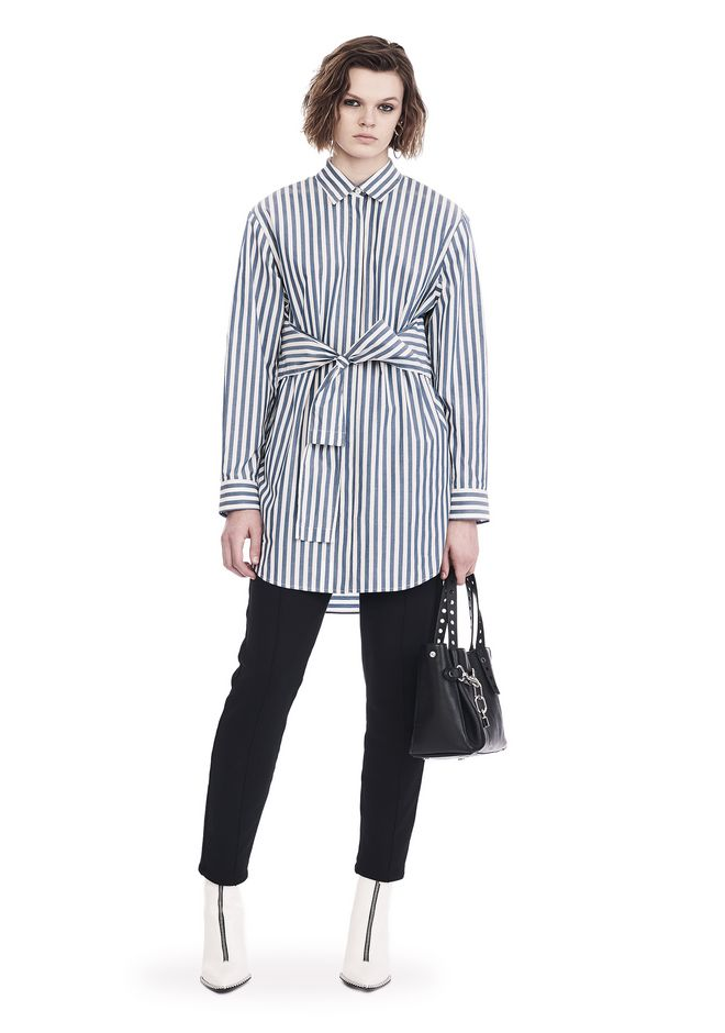 T by ALEXANDER WANG sltbdr STRIPED LONG SLEEVE FRONT TIE COLLARED DRESS
