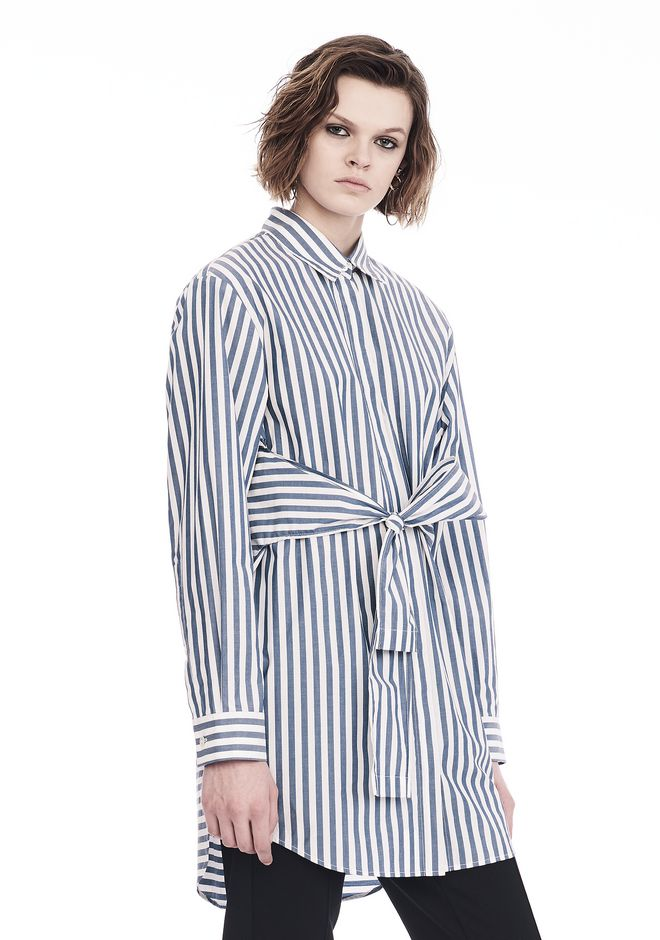 T by ALEXANDER WANG STRIPED LONG SLEEVE FRONT TIE COLLARED DRESS 3/4 length dress Adult 12_n_a