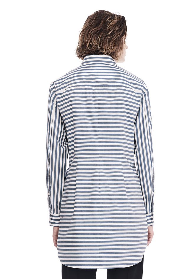 T by ALEXANDER WANG STRIPED LONG SLEEVE FRONT TIE COLLARED DRESS 3/4 length dress Adult 12_n_d