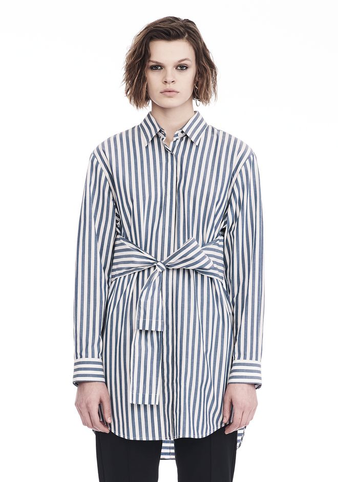 T by ALEXANDER WANG STRIPED LONG SLEEVE FRONT TIE COLLARED DRESS 3/4 length dress Adult 12_n_e