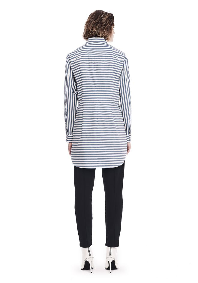 T by ALEXANDER WANG STRIPED LONG SLEEVE FRONT TIE COLLARED DRESS 3/4 length dress Adult 12_n_r