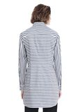 T by ALEXANDER WANG STRIPED LONG SLEEVE FRONT TIE COLLARED DRESS 3/4 length dress Adult 8_n_d
