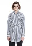 T by ALEXANDER WANG STRIPED LONG SLEEVE FRONT TIE COLLARED DRESS 3/4 length dress Adult 8_n_e