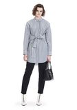 T by ALEXANDER WANG STRIPED LONG SLEEVE FRONT TIE COLLARED DRESS 3/4 length dress Adult 8_n_f