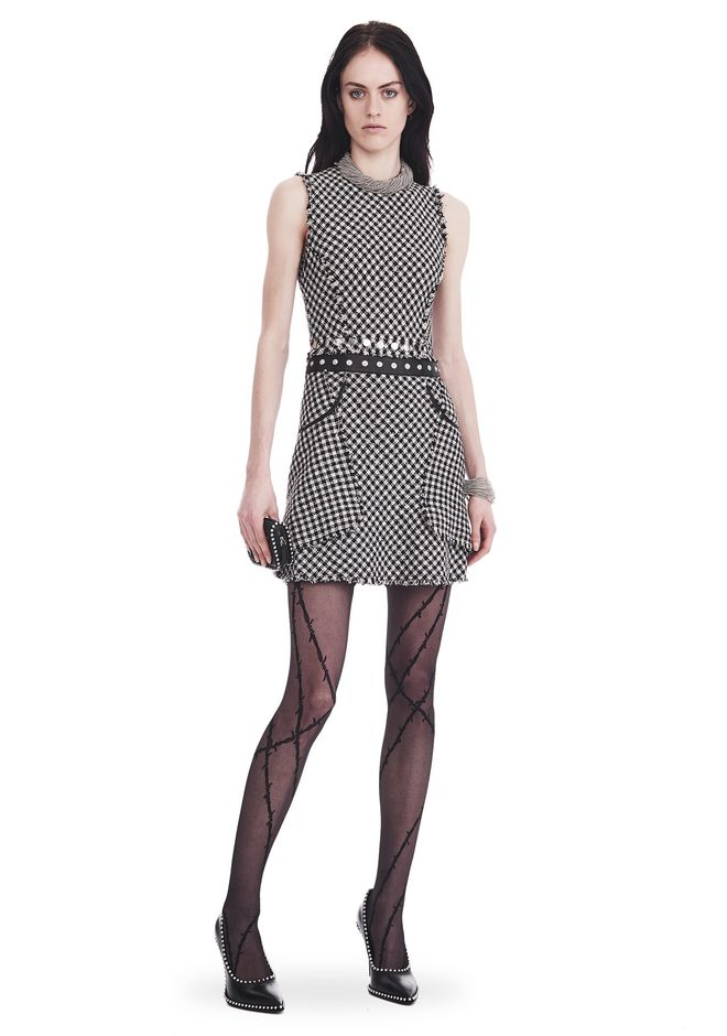 ALEXANDER WANG slrtwdr RAW EDGE TWEED PEPLUM DRESS