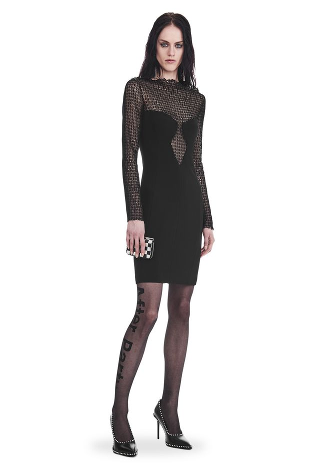 ALEXANDER WANG nwarclltsw LONG SLEEVE SHEATH DRESS WITH FRONT LACE PANEL