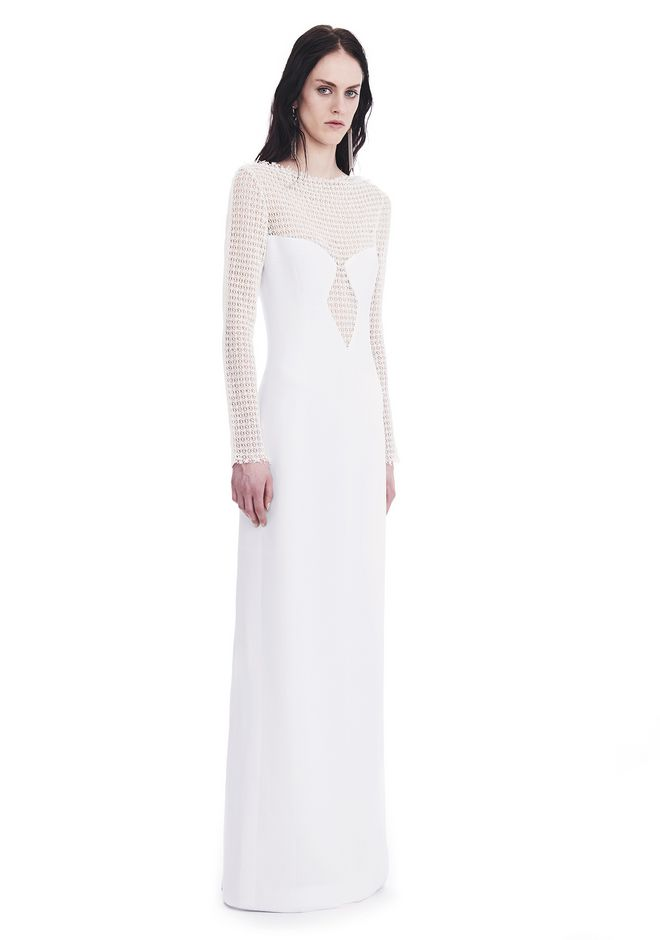ALEXANDER WANG slrtwdr LONG SLEEVED COLUMN GOWN WITH /FRONT LACE PANEL