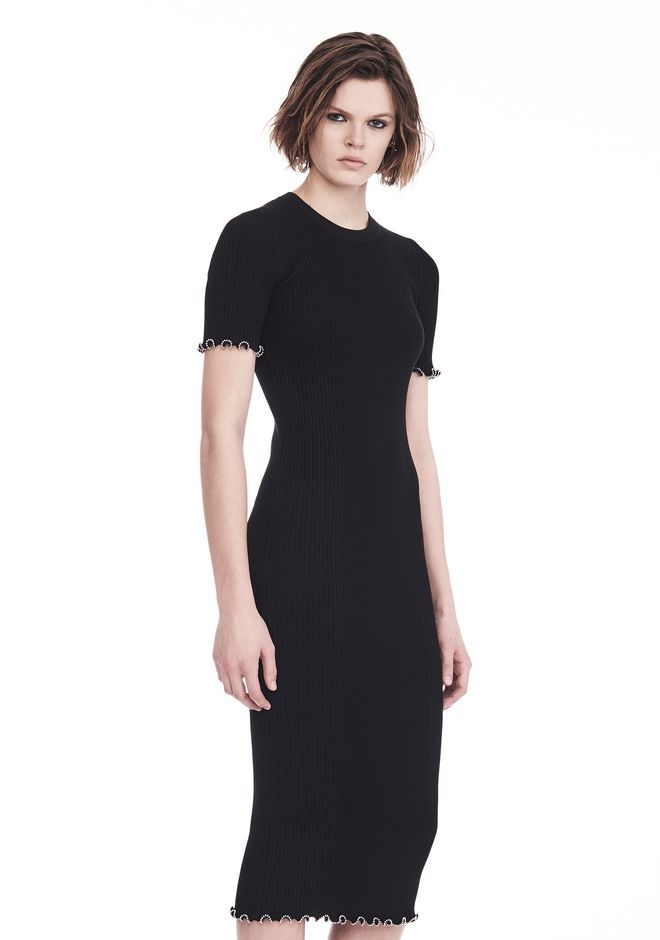 ALEXANDER WANG RIBBED TEE DRESS WITH RUFFLED BALL CHAIN HEMS 3/4 length dress Adult 12_n_a