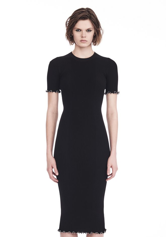 ALEXANDER WANG RIBBED TEE DRESS WITH RUFFLED BALL CHAIN HEMS 3/4 length dress Adult 12_n_e
