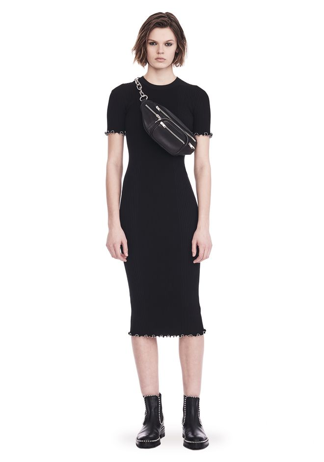 ALEXANDER WANG RIBBED TEE DRESS WITH RUFFLED BALL CHAIN HEMS 3/4 length dress Adult 12_n_f