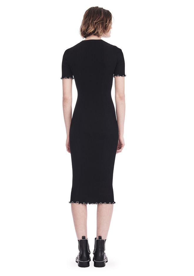 ALEXANDER WANG RIBBED TEE DRESS WITH RUFFLED BALL CHAIN HEMS 3/4 length dress Adult 12_n_r