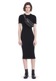 ALEXANDER WANG RIBBED TEE DRESS WITH RUFFLED BALL CHAIN HEMS 3/4 length dress Adult 8_n_f
