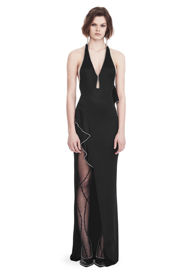 ALEXANDER WANG slrtwdr GOWN WITH ASYMMETRIC BALL CHAIN FLOUNCE