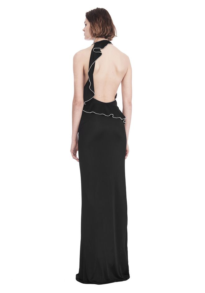 ALEXANDER WANG GOWN WITH ASYMMETRIC BALL CHAIN FLOUNCE 长款连衣裙 Adult 12_n_d