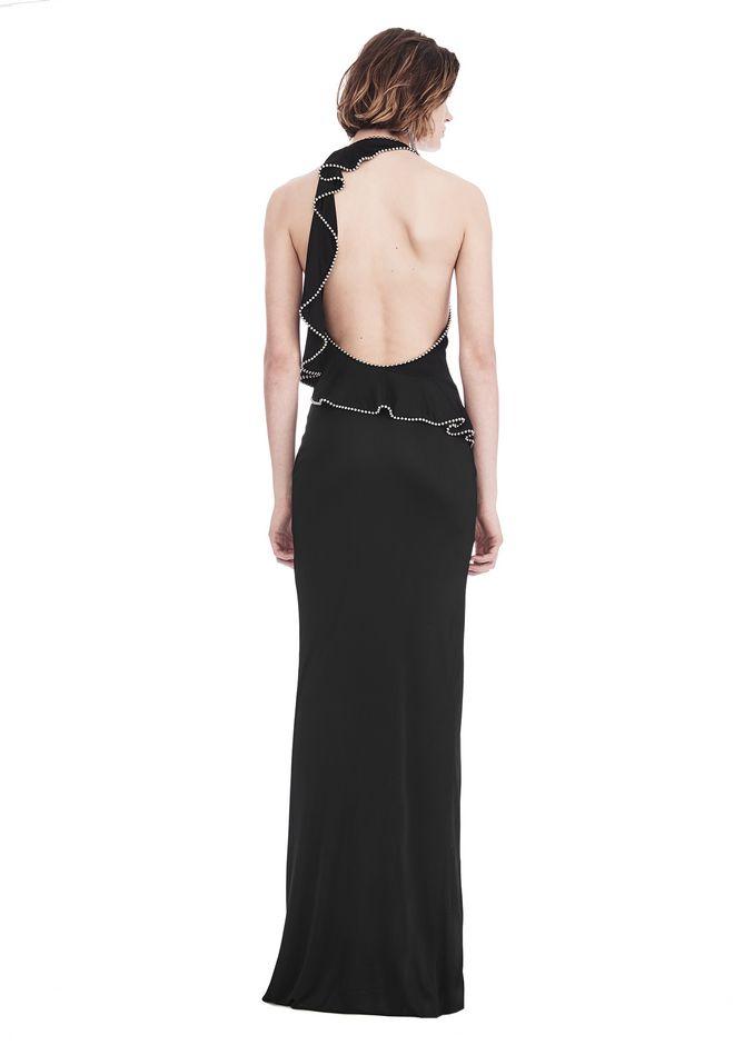 ALEXANDER WANG GOWN WITH ASYMMETRIC BALL CHAIN FLOUNCE 长款连衣裙 Adult 12_n_r