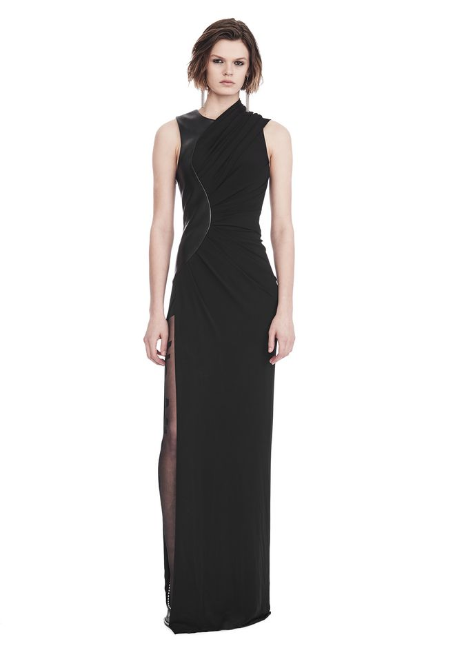 Alexander Wang ASYMMETRIC DRAPED GOWN WITH CURVED LEATHER PANEL ...