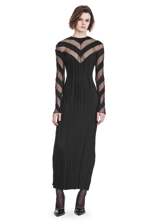 Alexander Wang PLEATED LONG SLEEVE GOWN WITH CHEVRON PANELING ...